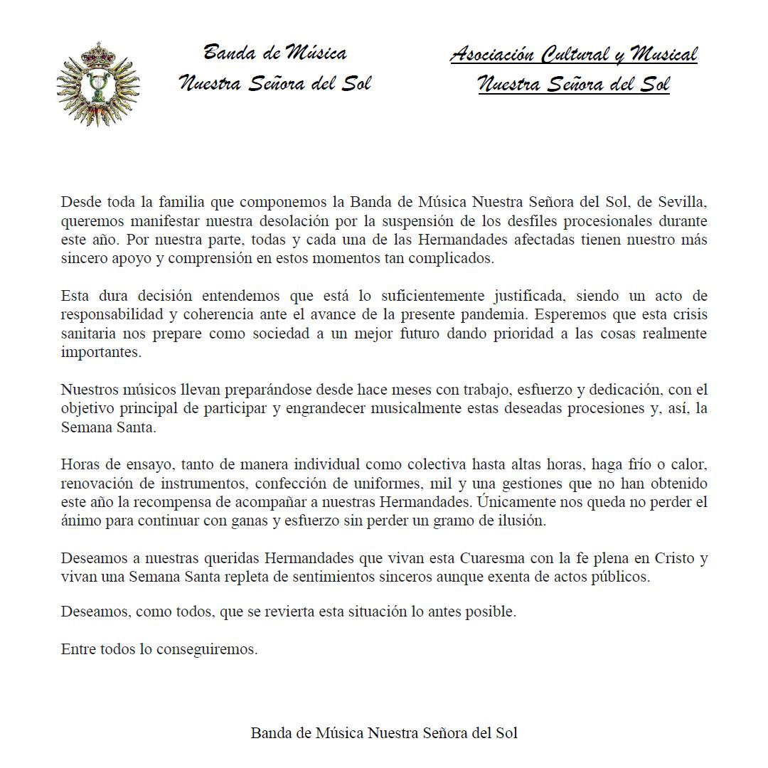 Comunicado oficial Semana Santa 2020